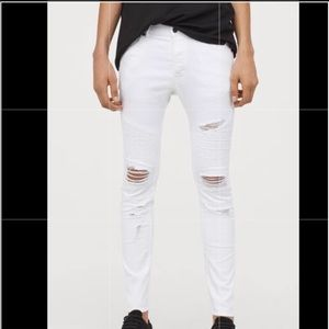H&M Divided • White Biker Skinny Jeans